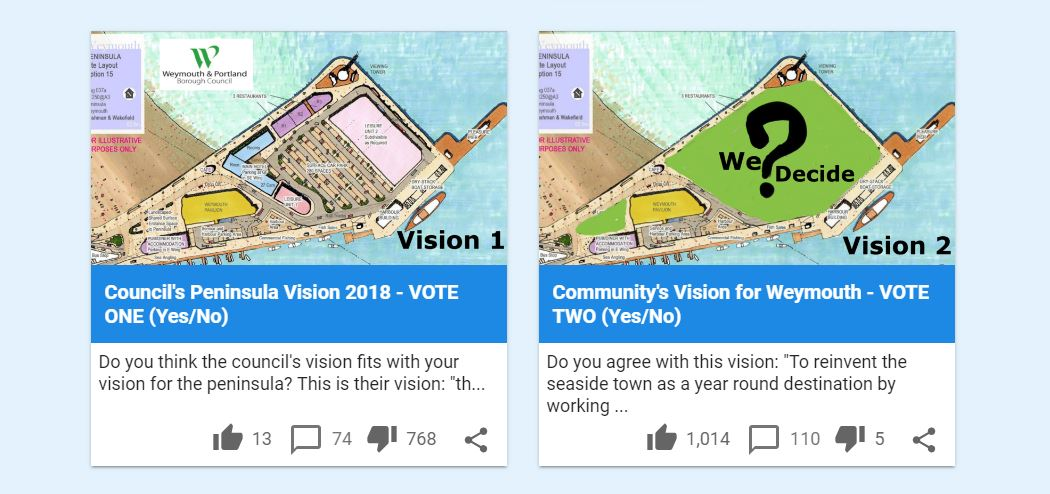 First use of digital democracy platform for Weymouth peninsula development public consultation